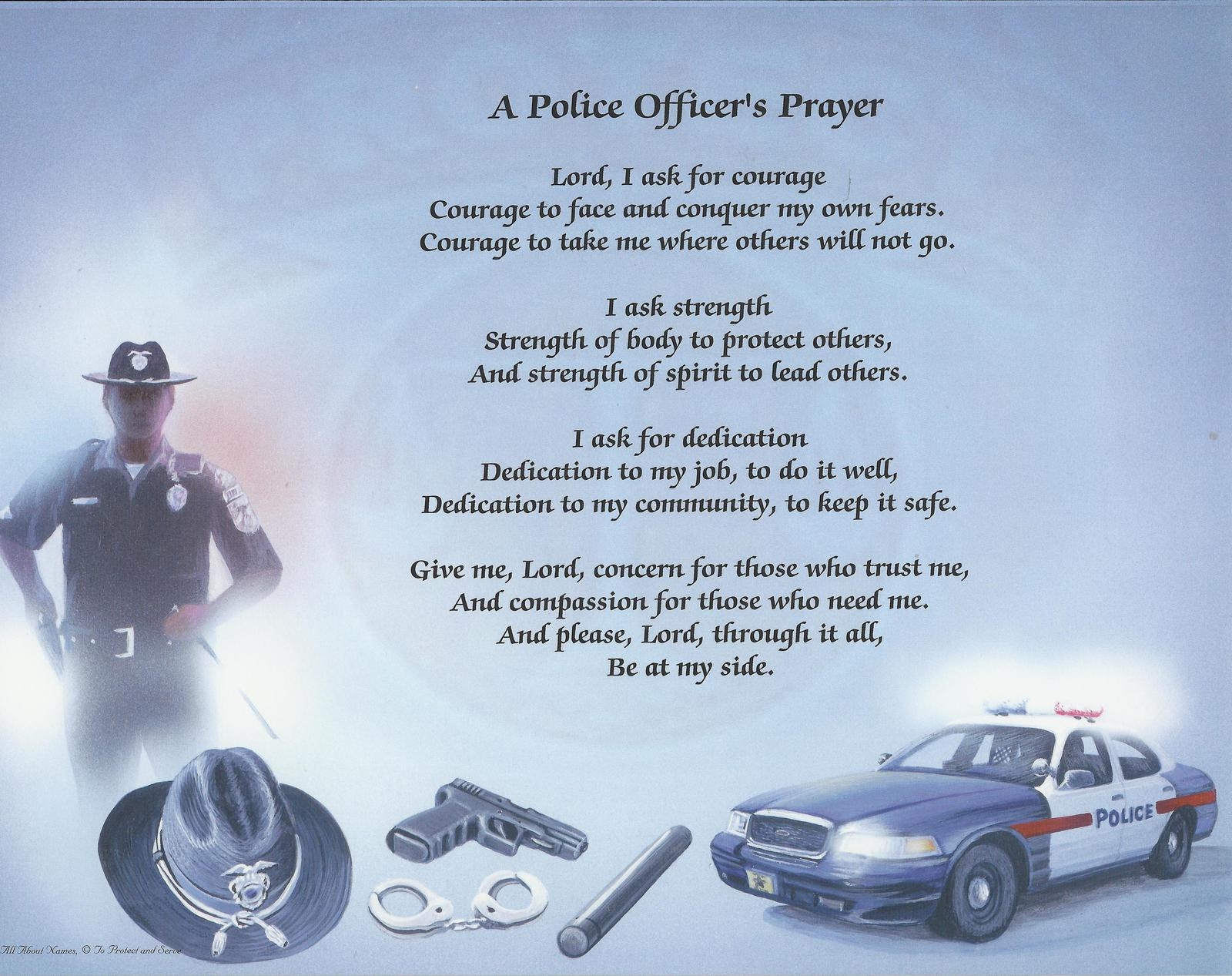 photo booth background ideas - Policeman s Prayer or Name Print with Matching Mat Frame