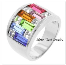 Women'S Silver Tone Multi Color Aaa Cubic Zirconia Fashion Ring Band Size 8 - $20.45