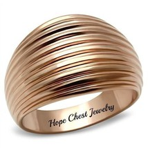 Women's Rose Gold Tone Dome Style Groove Design Band Ring - SIZE 5, 8, 10 - $11.68