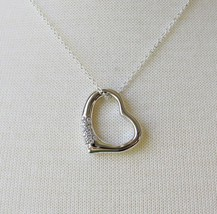 """WOMEN'S SILVER TONE CUBIC ZIRCONIA HEART PENDANT WITH 16"""" STERLING SILVE... - $15.57"""