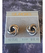 STUNNING VINTAGE ESTATE NOS GILMORE'S FRENCH KNOT SILVER TONE CLIP ON EA... - $3.00