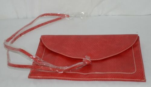 Amanda Blu 85088Chr Large Bright Red Clutch Inside Pockets