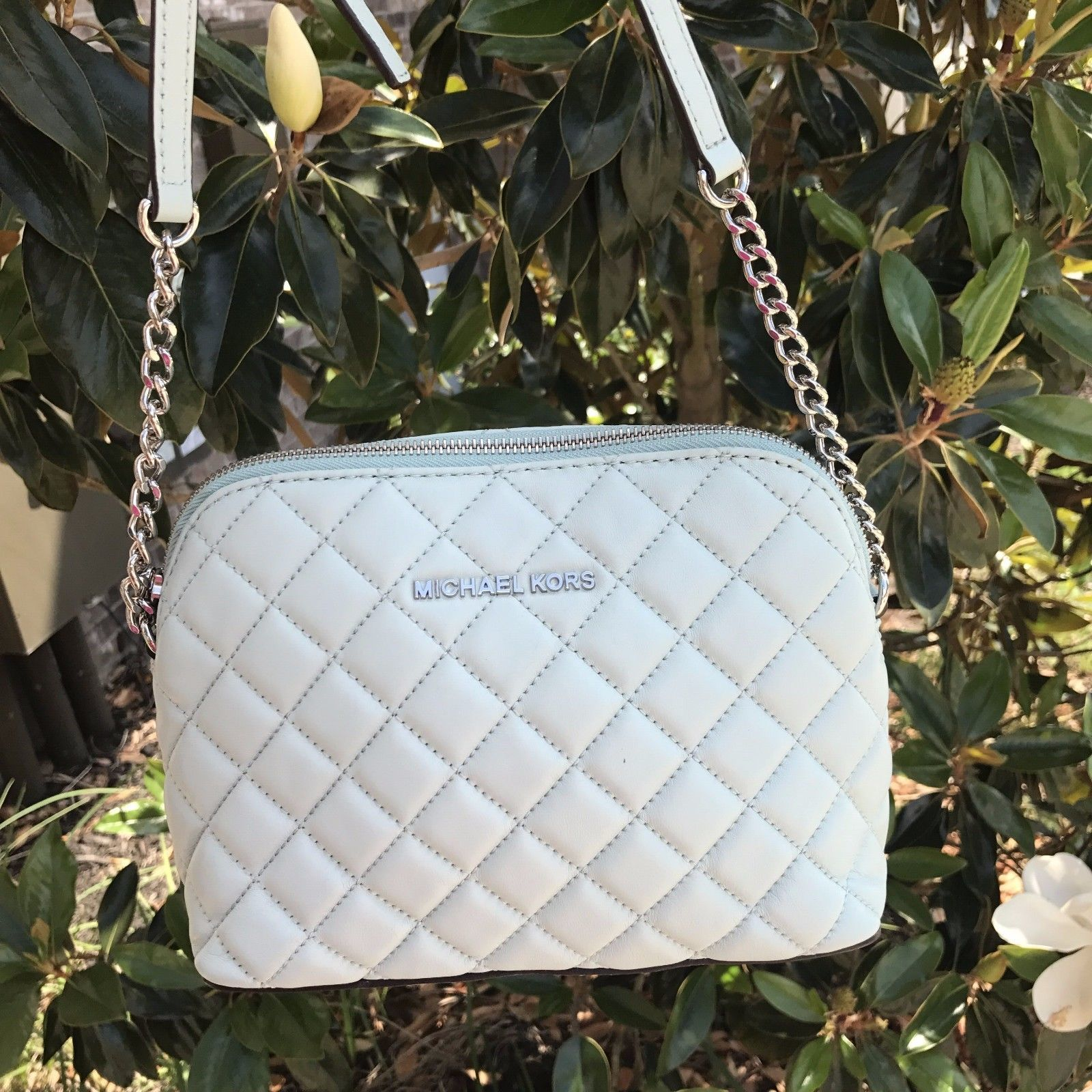 f05c9752253873 S l1600. S l1600. Previous. Michael Kors Cindy Large Dome Crossbody Leather  Pale Blue Soft Leather New