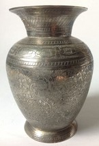 """Vintage Etched Engraved Silver Plate Vase 5"""" Tall - $24.95"""