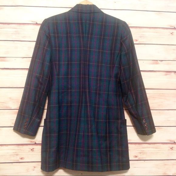 Vintage Linda Allard for Ellen Tracy 100% Wool Plaid Dress Coat Size 8 EUC