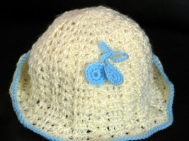 Handmade Hat Yellow with Light Blue - $4.99