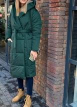 Women's New High Street Solid Hooded Full Length Quilted Parka Coat image 6
