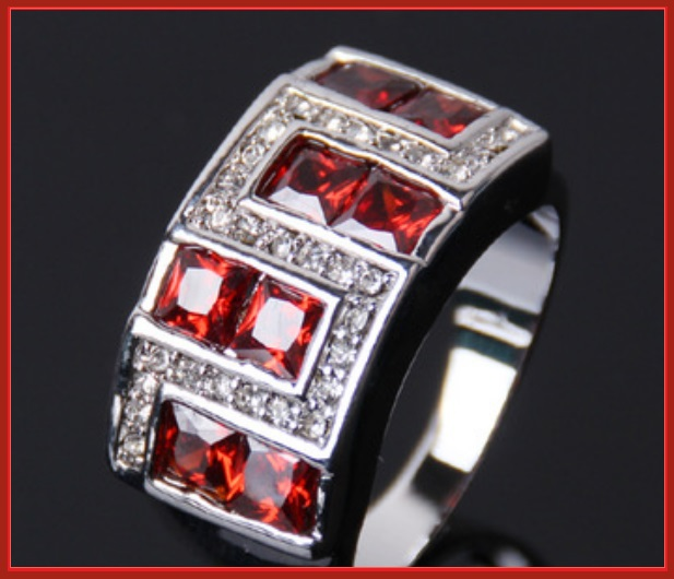 Ruby Red or Sapphire Blue Austrian Crystal and Zircon Mens 10kt W Gold Pl Ring