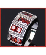 Ruby Red or Sapphire Blue Austrian Crystal and Zircon Mens 10kt W Gold P... - $71.95