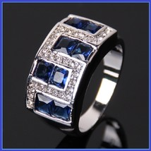 Ruby Red or Sapphire Blue Austrian Crystal and Zircon Mens 10kt W Gold Pl Ring  image 2