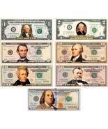 * Set of all 7 * COLORIZED 2-SIDED U.S. Bills Currency $1/$2/$5/$10/$20/... - $395.95