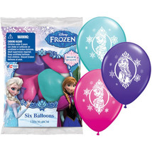 """Disney Frozen Printed Latex Balloons Pack Birthday Party 6 (six) 12"""" Ass... - $7.59"""
