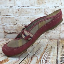 Clarks Artisan Womens Size 8 Red Brown Suede Canvas Mules Clogs Flats Sh... - $23.74