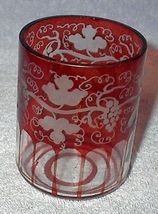 Old Red Ruby Cranberry Etched Cut Grape Vine Glass Tumbler - $10.00