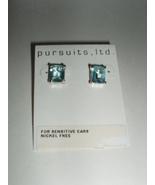 Aqua Marine Nickel Free Princess Cut Earrings by Pursuits Ltd. - $9.99