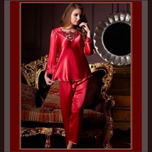 Long Sleeve Red or Pink Charmuse Silk Satin PJ's 2 Peice Pants and Top Set