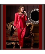 Long Sleeve Red or Pink Charmuse Silk Satin PJ's 2 Peice Pants and Top Set  - $72.95