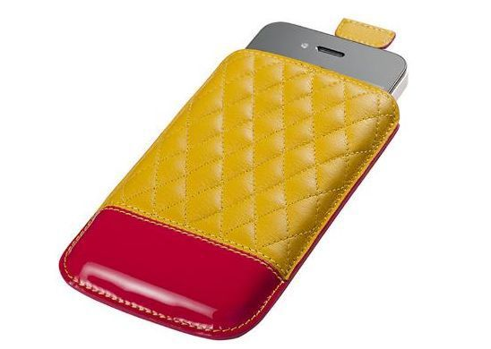 BRAND NEW Trexta CAPI Leather Pouch Case Cover for Apple iPhone 4/4s Yellow-Pink