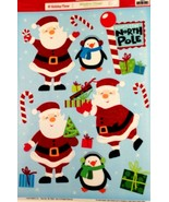 Vinyl Static Window Clings Christmas Santa Claus Penguin North Pole Cand... - $8.42