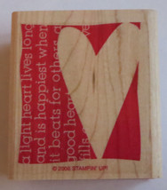 Light Heart Lives Long Stampin' Up! Rubber Stamp New 2006 NOS Love Happi... - $6.92