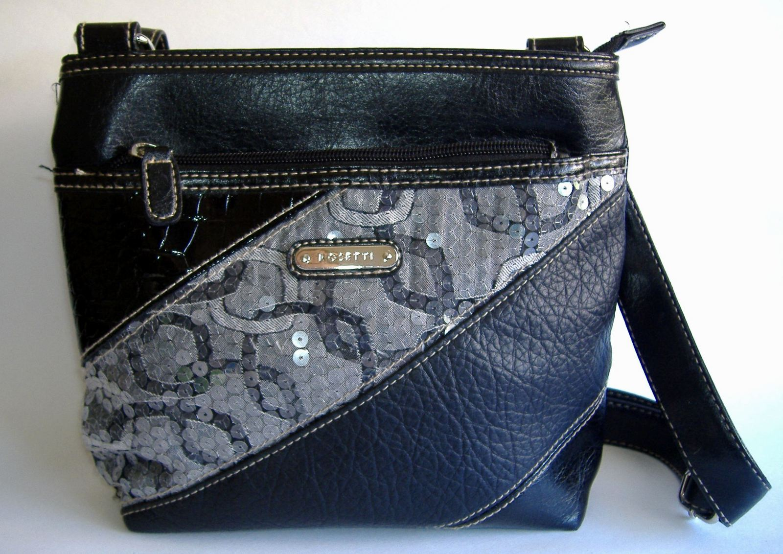 Black Rosetti Shoulder Bag Sequin Faux Leather Purse Tote Zipper Pockets Handbag 20 00