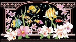 Tropical Fantasy floral fish cross stitch chart Kooler Design Studio - $10.80
