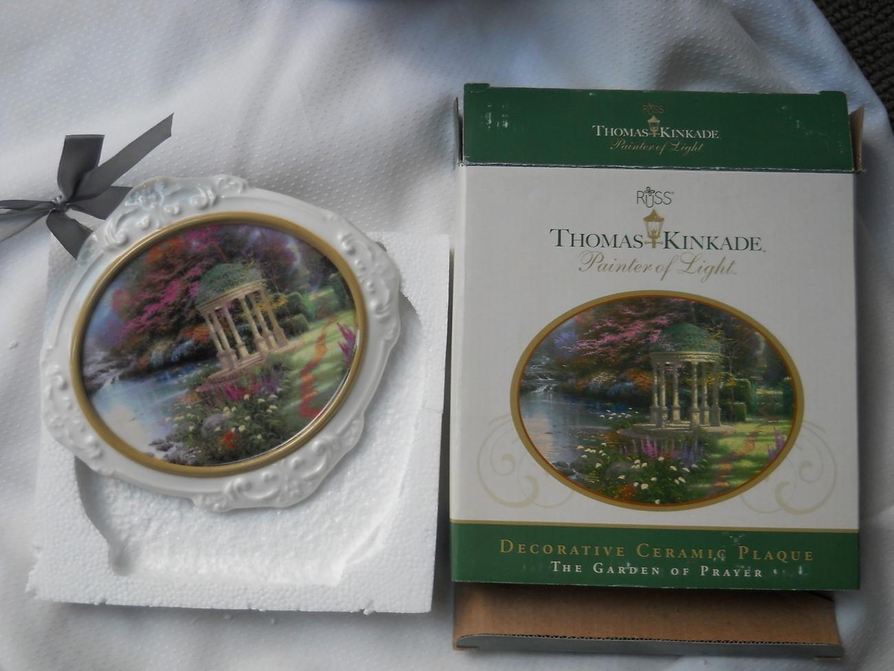 Thomas Kinkade Painter of Light Decorative Ceramic Plaque Plate Garden Prayer NW - $21.83