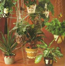 Plant hangers, crochet patterns macrame-look pot covers. 2 pgs, 8 patter... - $11.83
