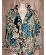 JAIPUR Womens Multi-Color Button-Down Ruffled Front Accordeon Blouse Sz M/L - $15.99