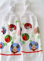 Christmas Moose and Cardinals Handmade Crocheted Top Hanging Kitchen Towels  - $6.00