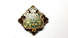 Gold Tone and Green Enamel Shield Pin Renaissance Style - $14.39