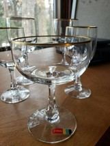 FOSTORIA STEMWARE 5 PIECES GOLD RIM - $9.00