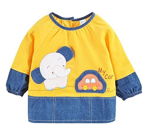 Cute Corduroy Waterproof Sleeved Bib Baby Feeding Bibs Bright YELLOW