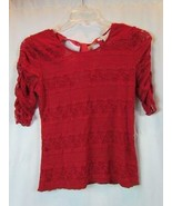 NWT American Rag CIE Dark Red Tie Back Short Sleeve Lace Blouse XS Org $... - $26.59