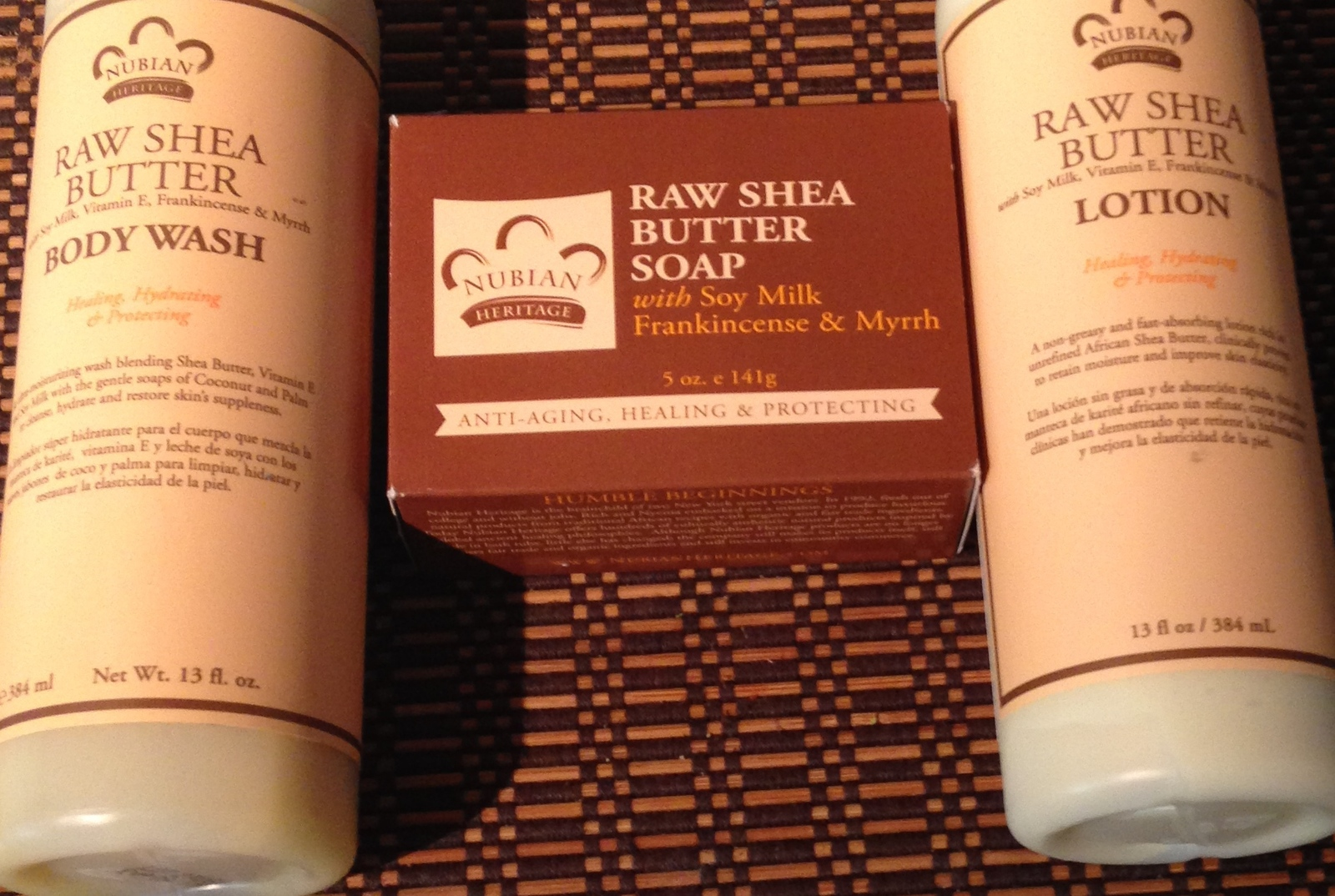 Nubian Heritage Raw Shea Butter with Soy Frankincense and Myrrh Set  - $25.00