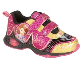 SOFIA The First LIGHT-UP Shoes NEW Girl's 11 Sneakers Glittery Pink Gold... - $29.99
