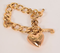Juicy Couture Gold Charm Bracelet Link Chain Banner Heart and J Charm - $19.80