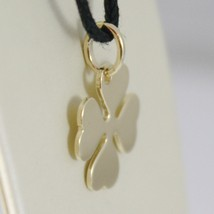 18K YELLOW GOLD PENDANT CHARM 18 MM, FLAT LUCKY FOUR LEAF CLOVER, MADE IN ITALY image 2