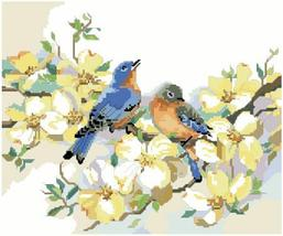 Bluebirds and Dogwood bird floral cross stitch chart Kooler Design Studio - $9.00