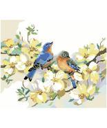 Bluebirds and Dogwood bird floral cross stitch chart Kooler Design Studio - $9.00
