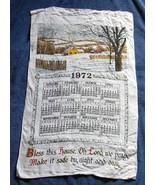 VINTAGE 1972 LINEN CALENDAR KITCHEN TOWEL BLESS THIS HOUSE OH LORD WE PRAY - $14.80