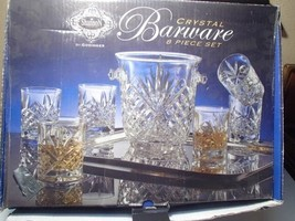 Shannon / Godinger Bar Set~~Ice Bucket & 6 Dbl Old Fashions~~In Box - $59.99
