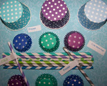 Frozen Party Pack-6 Straws/6Treat Cups/12 Mini Cupcake Liners Free Straw Flag P