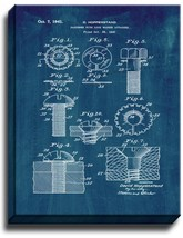 Fastener With Lock Washer Attached Patent Print Midnight Blue on Canvas - $39.95+