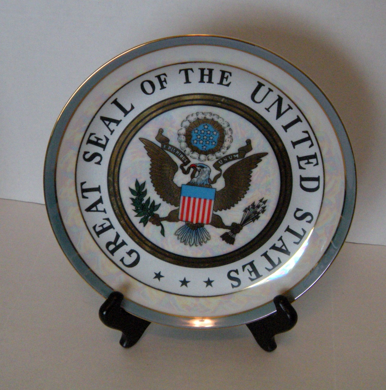 Great Seal of the Ubited States Pearlized Plate w Matching Mug