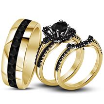 Men's & Women's Trio Wedding Ring Set 14k Yellow Gold Plated 925 Silver SZ 5-14 - $150.23