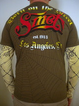 NEW Christian Audigier Smet Men's Brown Double Sleeve Shirt - Size S - $25.69