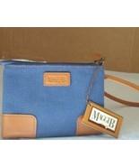MAGGI B Leather Trim Wristlet Denim/Tan NWT MSRP $18 - $16.88