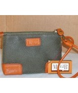 MAGGI B Leather Trim Wristlet Olive/Tan NWT MSRP $18 - $16.88