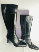 Ann Taylor 8.5M Black Calf Leather Boots Gabriela High Heels Made In Ita... - $35.05